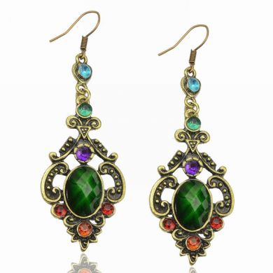 Retro Emerald Green Earrings