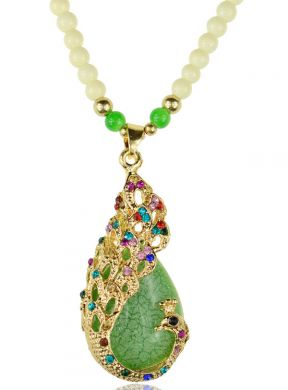 Green Peacock Necklace