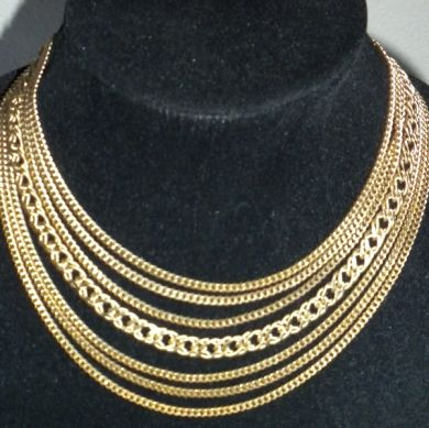Monet Signed Seven Multi Strand Gold Plated Chain Necklace